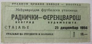 Jegy_1956 - Radnyicski Belgrád 6 - 2 Ferencváros (Buzánszkyval)