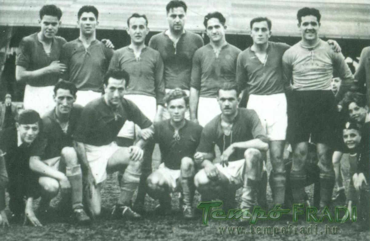 A Fradit 5:0-ra legyőző Szeged csapata. Állnak, balról: Gyuris, Kalmár, Harangozó, Toldi, Kis-Kalkusz, Báló, Tóth. Guggolnak: Bognár, Baróti, Lakat, Szabó.