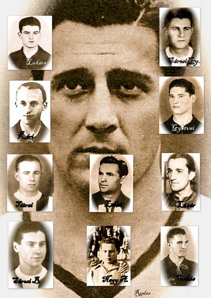 Tabló az 1942/43-1943/44-es MK győztes csapat játékosaival