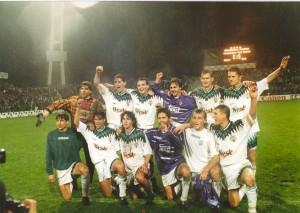 A Real Madrid ellen. Állnak (balról): Hajdú, Hrutka, Telek, Páling, Kuznyecov, Vincze O. Elől: Kopunovic, Zavadszky, Lisztes, Nyilas, Nagy Zs., Keller