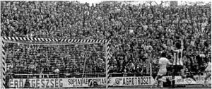 Az első gól az új Üllői úti sadionban. 1974.VI.1., FTC - MTK-VM: 2-1, Branikovits (lemaradt a lépről). Nyilasi örül a gólnak.