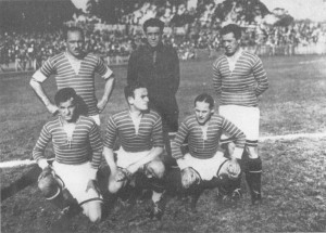 Állnak(balról): Takács I., Amsel, Hungler II. Elől: Lyka II., Bukovi, Obitz