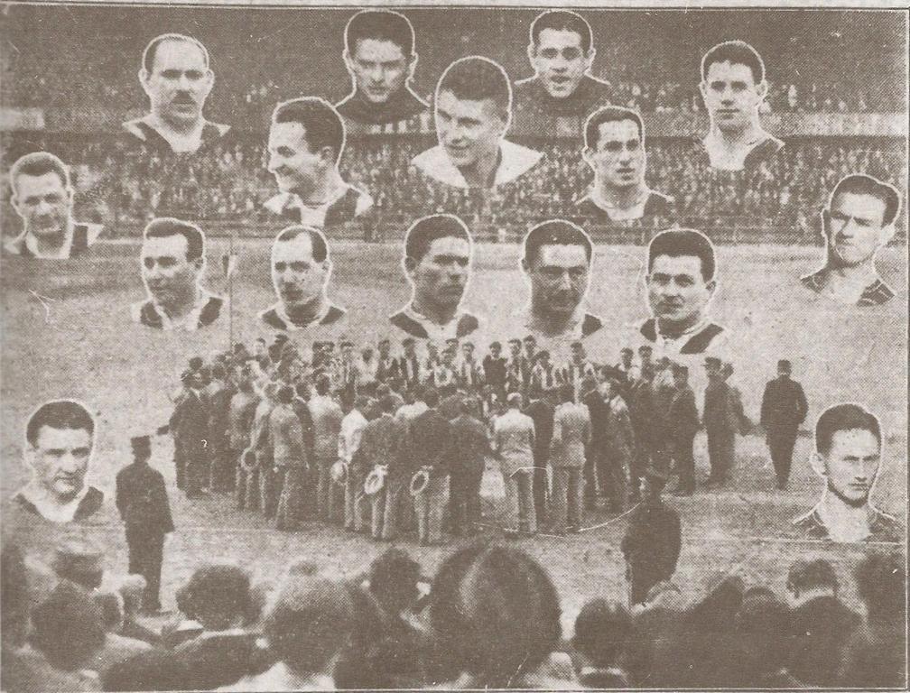 Képünk a mikrofon körüli csoportot ábrázolja. Fent pedig a játékosok, akik a bajnoki címet kivívták. Felül: Amsel és Háda. Középső sorban: Takács I., Laky, Sárosi, Lázár, Korányi. Alsó sorban: Táncos, Takács II., Turay, Toldi, Kohut. Oldalt fent: Szedlacsik Bukovi, lent pedig Papp és Berkessy.