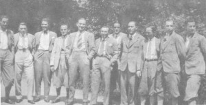 balról: Toldi, Kohut, Turay, Blum Zoltán edző, Bukovi, Táncos, Amsel, Takács I., Obitz, Takács II., Lyka II.