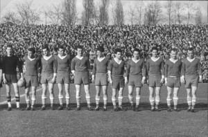 Állnak (balról): Landi, Dalnoki, Kiss III., Mátrai, Albert, Nagy G., Fenyvesi, Rákosi, Kocsis Gy., Dékány, Vilezsál