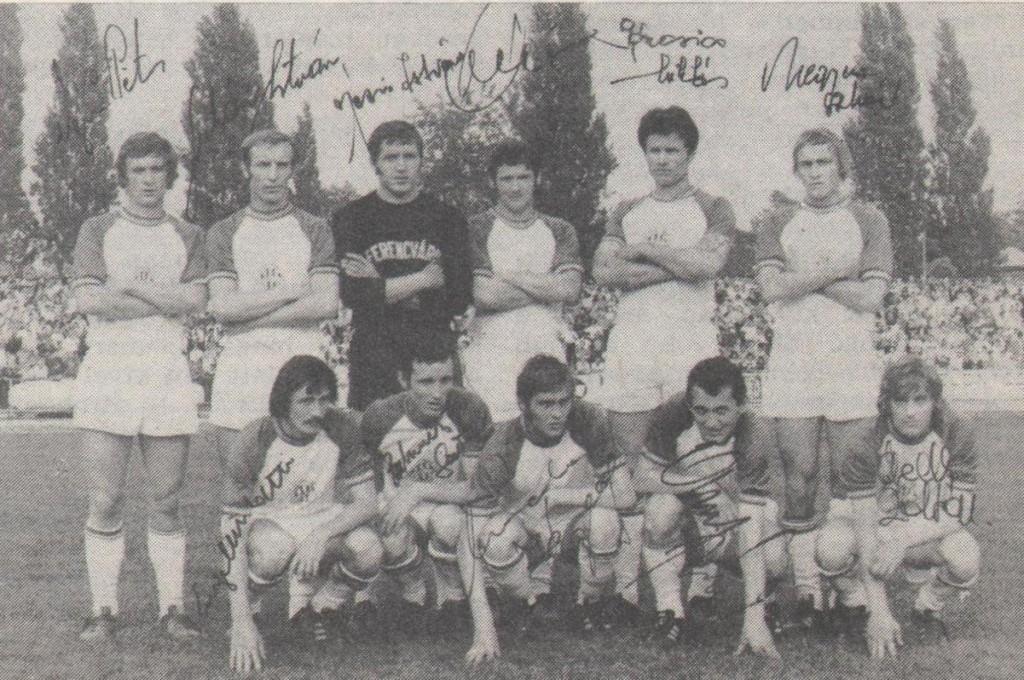 Állnak (balról): Vépi, Juhász, Géczi, Bálint, Páncsics, Megyesi. Elől: Engelbrecht, Branikovits, Mucha, Albert, Ebedli