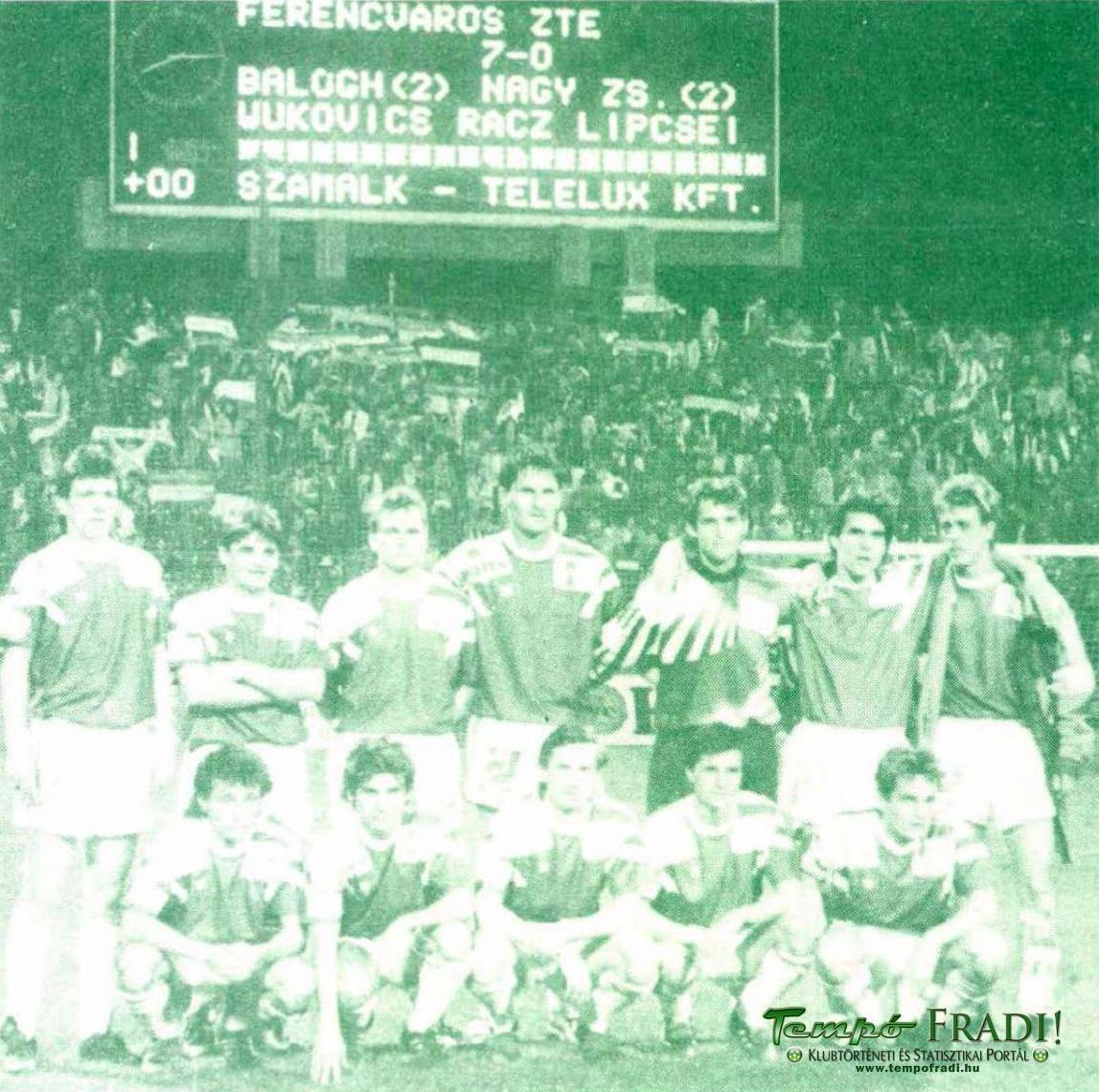 Állnak (balról): Szenes, Fodor, Simon T., Balogh G., Balogh T., Lipcsei, ifj. Albert. Elől: Nagy Zs., Wukovics, Kuznyecov, Szekeres, Telek