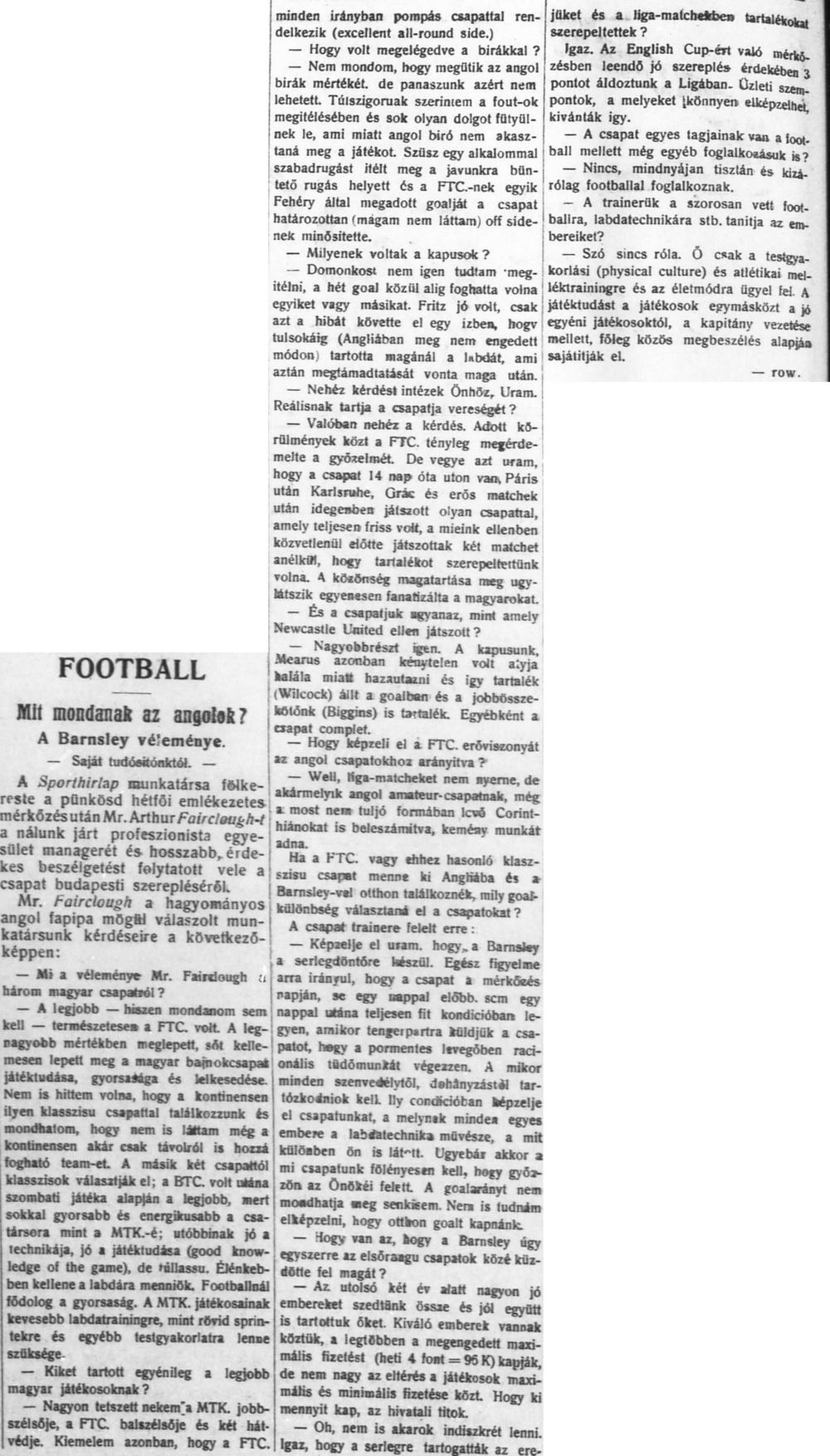 Sporthírlap, 1910. május 23.