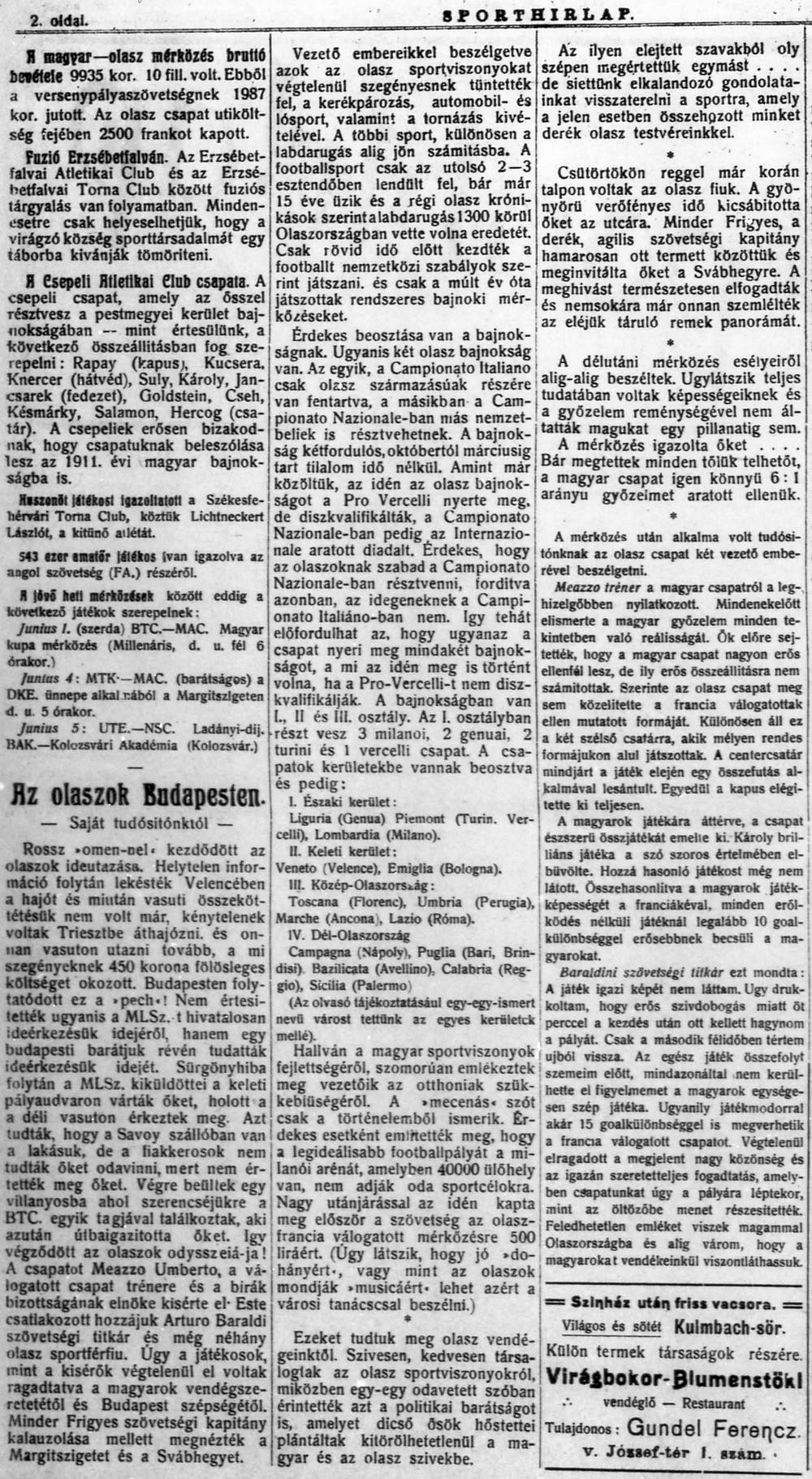 Sporthírlap, 1910. május 26.